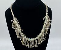 Vintage Crystal Glass Fringe Beaded Necklace Magnetic Magnetic Silver Clasp
