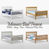 Monaco Bett Rahmen Hoch Fuß Ende Kiefernholz Kopfteil Doppelbett Einzelne Farben