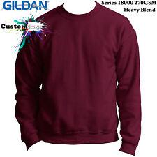Gildan Maroon Heavy Blend Basic Sweat Sweater Jumper Sweatshirt Mens S-XXL
