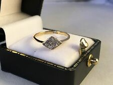 LOVELY 18ct Yellow Gold Art Deco Style Diamond Cluster Lozenge Ring SIZE K