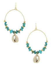 NEW Blue Turquoise Natural Stone Chip Beaded Circle Hoop Puka Shell Earrings