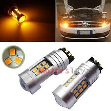 2x Amber PWY24W 21-SMD LED Bulbs For BMW Audi VW Front Turn Signal or DRL Lamps