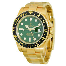 ROLEX 40mm 18K Yellow Gold GMT Master II Ceramic Green Dial # 116718 Warranty