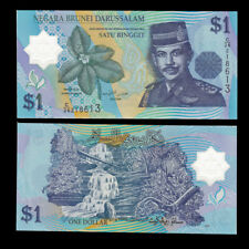 P35 New Date Polymer banknote Brunei 1 Ringgit UNC 2016