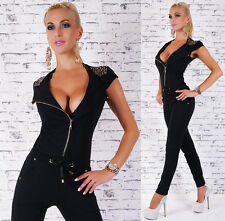 Black jumpsuit Long Zip with gold Studs Overall Skinny Leg Trousers Suit 8,10,12