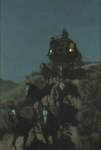 Frederic Remington The Old Stage-Coach of the Plains Poster Giclee Canvas Print