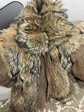 leather & raccoon fur coat jacket