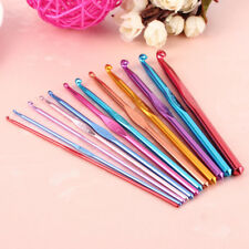 12Pc Multi Coloured Aluminium Crochet Hooks Yarn Knitting Needles Set 2mm-8mm