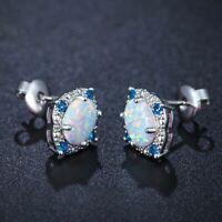 mode frauen schmuck versilbert ohr hengste ohrringe ovale opal rhombic muster