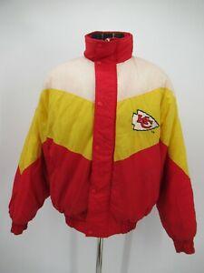 P7954 VTG NFL Kansas City Chiefs Logo Football Team Bomber Jacket Size M