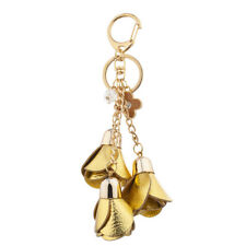 Sprayed Tulip Cluster Bag Charm Keychain Lux Accessories Gold Tone And Gold