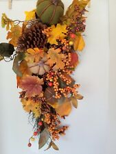 Fall Colors Teardrop Burlap Pumkins Pine Cone Berries Door Wreath Table Arrangem