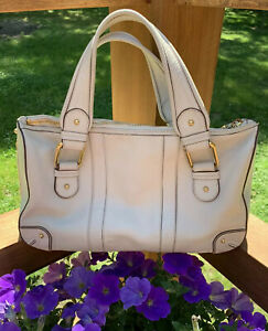 🌸Marc Jacobs Double Handle Off White Leather Handbag Gold Hardware Italian Made