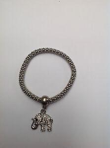 Armband Stretcharmband silber/weiß Elefant  mit weißen Kristallen Neu!
