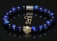 Tigerauge blau - goldfarbener Tigerkopf - Armband Bracelet Perlenarmband 8mm