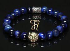 1ce0580f0782 Ojo de Tigre Azul - Color Dorado Cabeza - Pulsera Brazalete Perlas 8mm