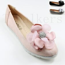 LADIES FLAT CREEPER LOW CHUNKY SOLE SCHOOL WORK DOLLY LOAFERS FLORAL SHOES SIZE