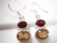 Faceted Citrine and Garnet 2-Gem 925 Sterling Silver Dangle Earrings Corona Sun