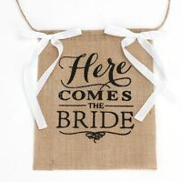 """Here Comes The Bride"" Burlap Bunting Banner Sign Wedding Party Rustic Decor"