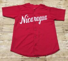 Vtg Nicaragua Baseball Jersey A.Perez Medium Small Red National Team Stitched