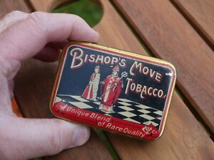 SUPERB VIBRANT VINTAGE BISHOP'S MOVE METAL TOBACCO TIN