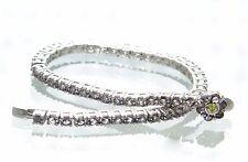 "Solid 925 Sterling Silver Tourmaline Flower Tennis Bracelet 7-1/4"" L '"
