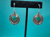 "Silpada Hammered 925 Sterling Silver Green Agate  ""Emerald Isle"" Earrings NWOT"