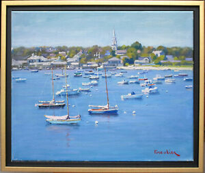 BOATS IN NANTUCKET HARBOR~LISTED ARTIST~ORIGINAL OIL PAINTING BY MARC FORESTIER