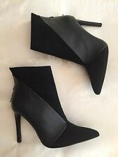 Zara Black Real Leather Suede Heeled Ankle Boots NEW UK 7 7.5