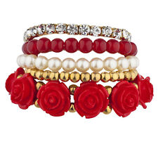 Lux Accessories Goldtone Red Pearl Flower Beaded Rhinestone Stretch Bracelet 5PC