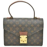 Authentic Louis Vuitton Monogram Satchel Hand Flap Bag Top Handle Concorde Brown