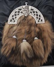 NEW BOXED Chrome Celtic Lion Grey Fox fur Kilt Sporran Made in Scotland