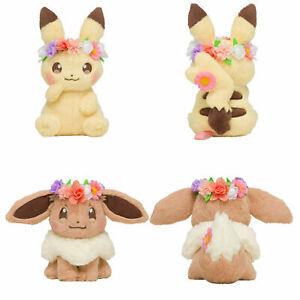 Fete Flower Spring Eevee & Pikachu Soft Plush Doll  Easter Version Gift