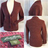 Eddie Bauer Cardigan Sweater XS Women Red Cotton Nylon Wool EUC YGI RE1329