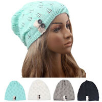 Fashion Women Hats Leaves Hollow Out Knitted Wool Winter Warm Hat Caps Hot Sale