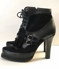 TABITHA SIMMONS Size 9 / 39 Black Suede Leather Platform Ankle Boots Italy