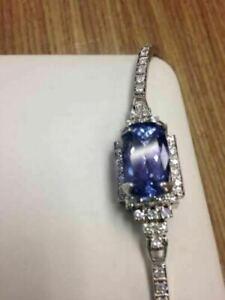 Estate 7ct Blue Tanzanite 2Ct Diamond 14k White Gold Over Bracelet Bangle 8 inch