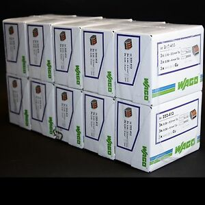 500pcs WAGO 3 way Lever Connectors 222-413 *Sealed factory box*