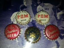 New listing 5 Vintage Beer Bottle Cap Crowns Cork Lined Peerless, P.O.M.