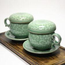 Korea Celadon Infuser Cup / traditional arabesque pattern / Set of 2 / gift set