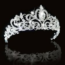 Bridal Princess Austrian Stunning Crystal Crown Hair Tiara Wedding Veil Headband