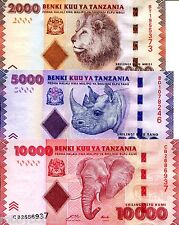 TANZANIA 3 NOTE SET Shillings Banknote World Money Currency Bill  p42-44 Africa