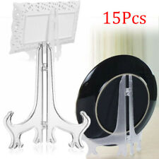15pc Clear Plate Display Easel Stand Picture Art Holders Frame Award Holder Set