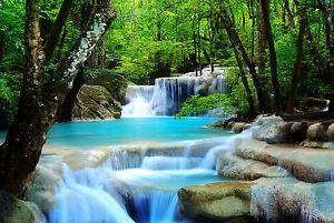 Framed Print - Pale Blue Rainforest Waterfall (Picture Poster Landscape Art)