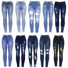 New Womens Blue Knee Cut Distressed Ankle Grazer Stretch Skinny Fit Denim Jean