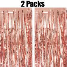 2pk ROSE GOLD Foil Fringe Curtains Metallic Tinsel Window Door Curtain Props