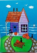ACEO original miniature painting 'Pumpkin Cottage' 2 By AlisonE