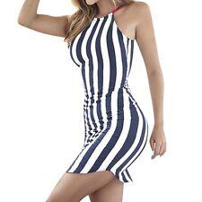 New Women Sleeveless Striped Party Bandage Bodycon Summer  Short Mini Dress