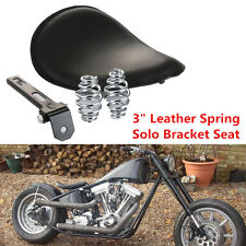 """New 3"""" Leather Solo Spring Bracket Seat For Motorcycle Sportster Chopper Bobber"""