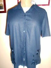 Viscose Short Sleeve Button Down Shirt Regular Tops & Blouses for Women